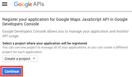 Create a Google Maps API Key Project
